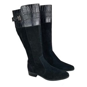 Marc Fisher Suede Leather Croc Detail Top Side-Zip Knee-high Boots